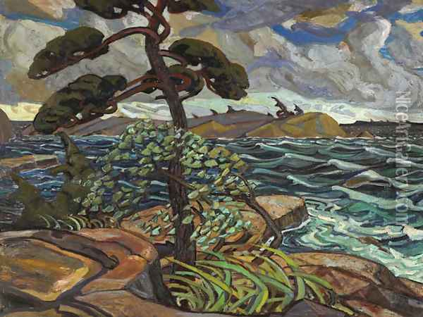 September Gale, Georgian Bay Oil Painting - Arthur Lismer