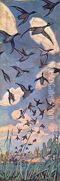 The Ducks Oil Painting - Arthur Lismer