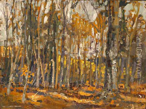 Wood Interior, Algonquin Park Oil Painting - Arthur Lismer