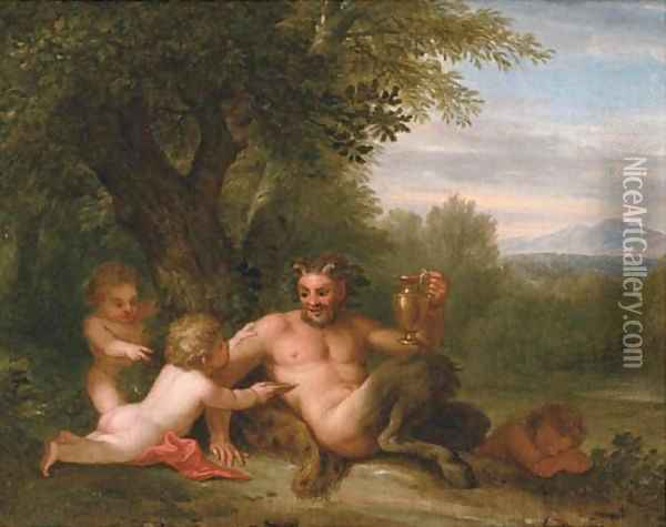 A wooded landscape with a satyr and two putti Oil Painting - Filippo Lauri