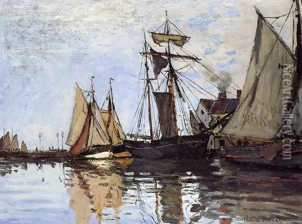Boats In The Port Of Honfleur Oil Painting - Claude Oscar Monet