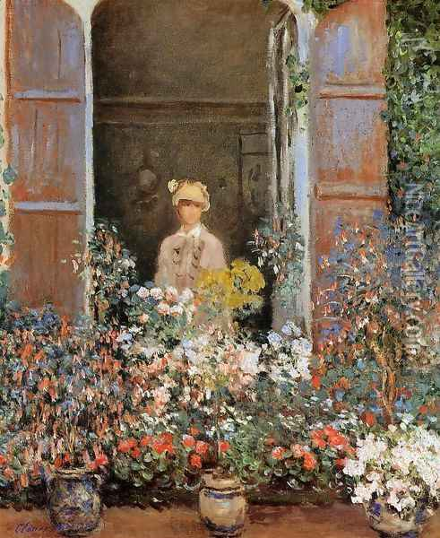Camille Monet At The Window Argentuile Oil Painting - Claude Oscar Monet