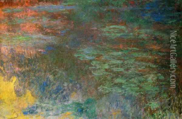 Water-Lily Pond, Evening (right panel) Oil Painting - Claude Oscar Monet