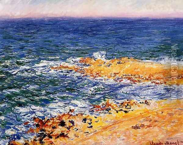 The Sea In Antibes Oil Painting - Claude Oscar Monet