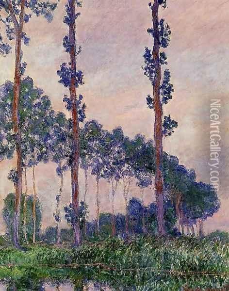 Three Trees In Grey Weather Oil Painting - Claude Oscar Monet