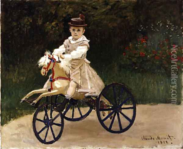Jean Monet on His Hobby Horse 1872 Oil Painting - Claude Oscar Monet