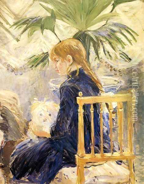 Girl With Dog Oil Painting - Berthe Morisot