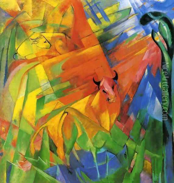 Animals In Landscape Aka Painting With Bulls Oil Painting - Franz Marc