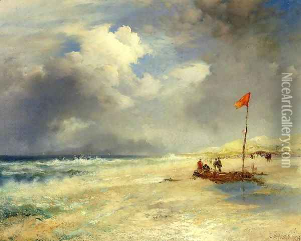 East Hampton Beach I Oil Painting - Thomas Moran