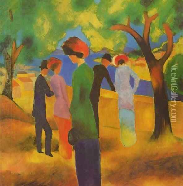 A Woman In Green Jacket Oil Painting - August Macke