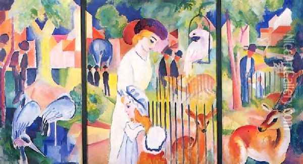 A Zoological Garden Oil Painting - August Macke
