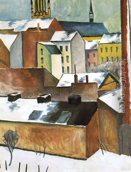 St. Mary's in the Snow (Mariekirsche im Schnee) 1911 Oil Painting - August Macke