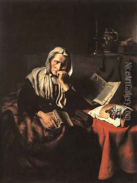 Old Woman Dozing Oil Painting - Nicolaes Maes