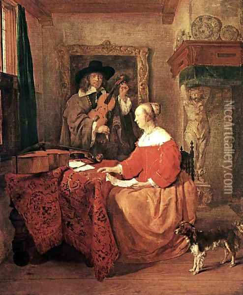 A Woman Seated at a Table and a Man Tuning a Violin Oil Painting - Gabriel Metsu