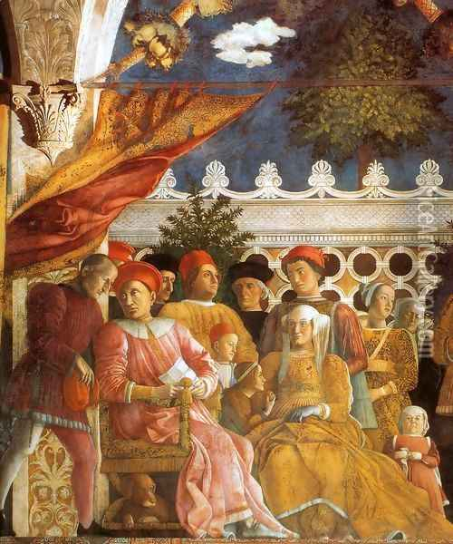 The Court of Gonzaga (detail) Oil Painting - Andrea Mantegna