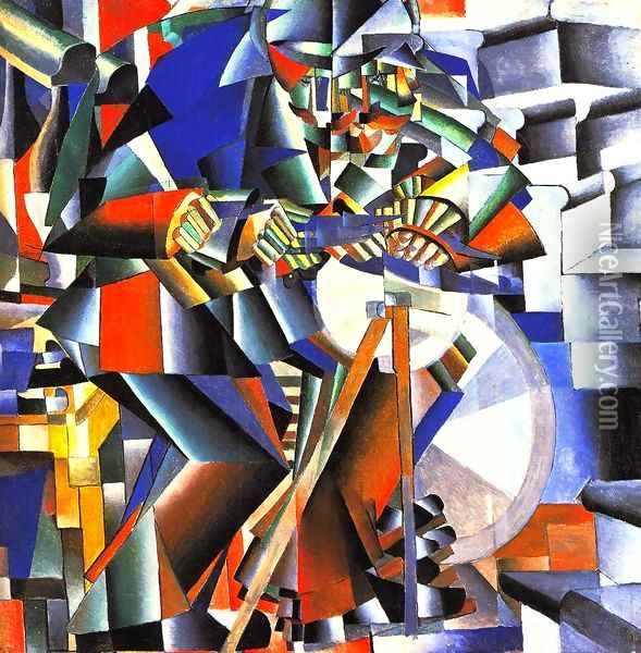 The Knife Sharpener Oil Painting - Kazimir Severinovich Malevich