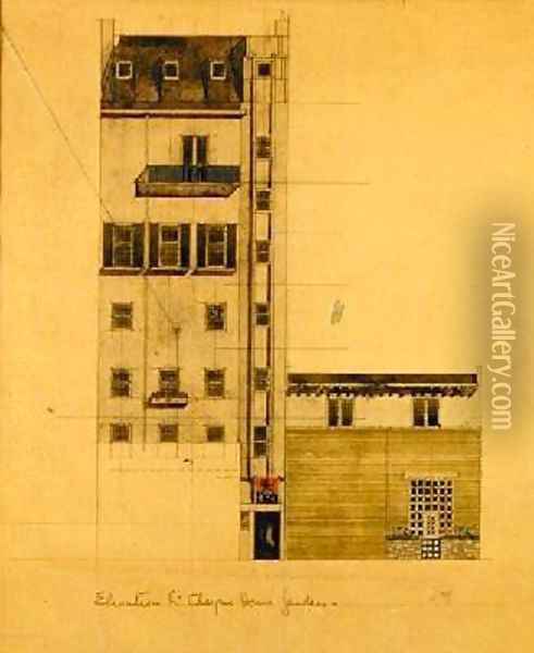 Elevation of Proposed Studio in Glebe Place and Upper Cheyne Walk Oil Painting - Charles Rennie Mackintosh