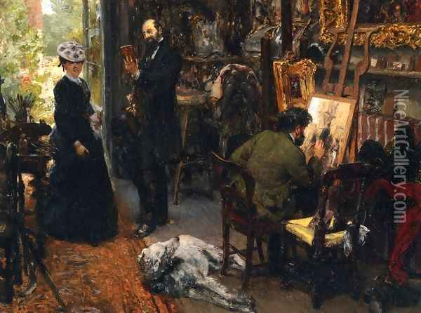 Meissonier in his Studio at Poissy Oil Painting - Adolph von Menzel