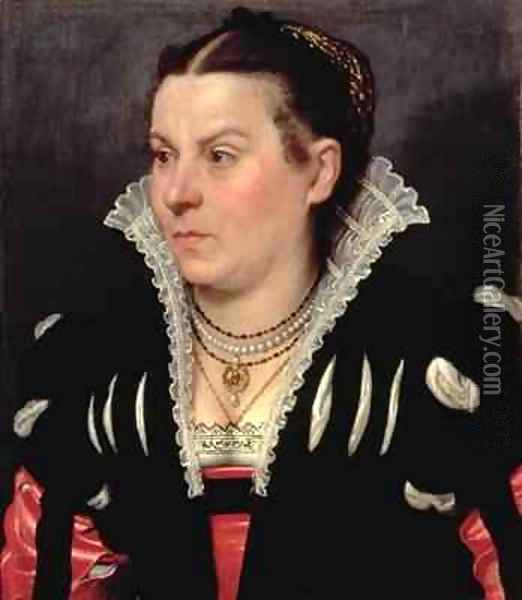 Portrait of a Lady Oil Painting - Giovanni Battista Moroni