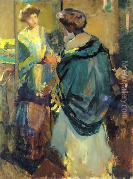 Woman Looking in a Mirror Oil Painting - Richard Emil Miller