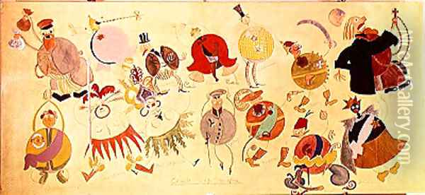 Costume designs for 'Misteriya-Buff', 1919 Oil Painting - Vladimir Mayakovsky