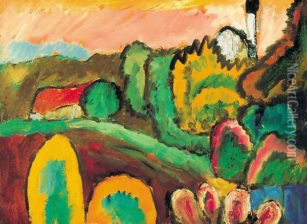 Landscape with Church Oil Painting - Gabriele Munter