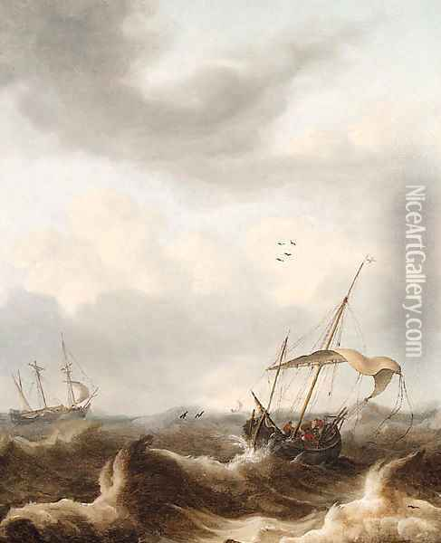A kaag and a fluyt in a storm Oil Painting - Pieter the Younger Mulier