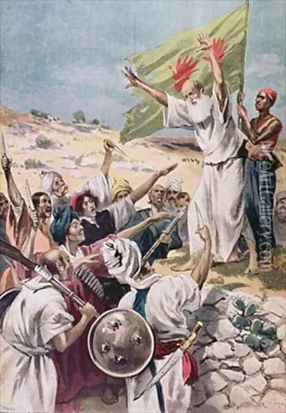 Preaching Holy War during an uprising in British India illustration from Le Petit Journal 1897 Oil Painting - Fortune Louis Meaulle