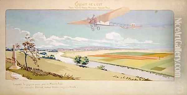 Comte Charles de Lambert in a Bleriot Monoplane flies the West Circuit Oil Painting - Marguerite (Gamy) Montaut