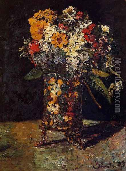 Bouquet of Flowers Oil Painting - Adolphe Joseph Thomas Monticelli