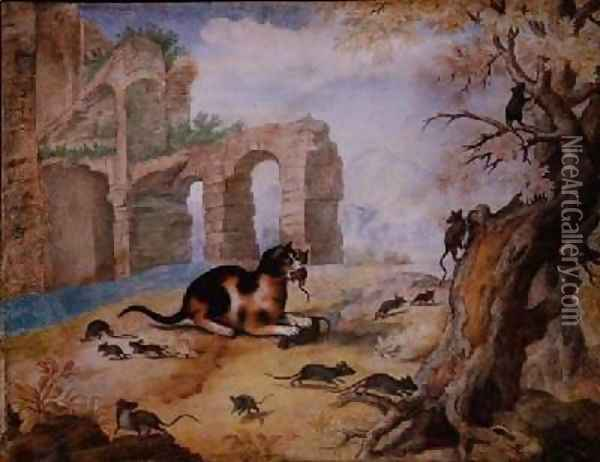 Cat killing mice in a landscape Oil Painting - Gottfried Mind or Mindt