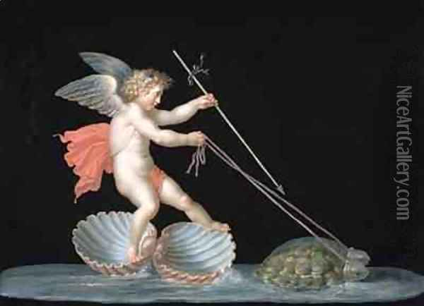 Cupid being led by Tortoises Oil Painting - Michelangelo Maestri