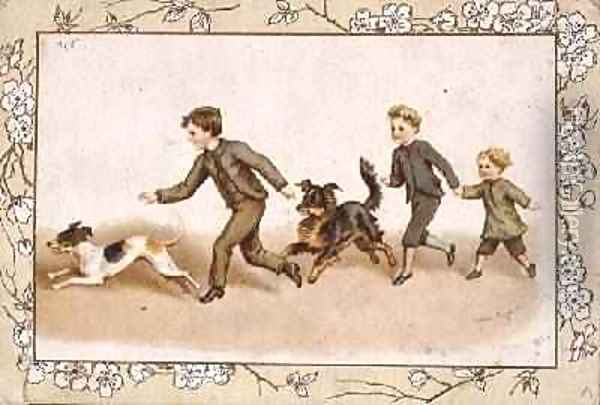 Greetings card depicting children playing with their dogs Oil Painting - Helena J. Maguire