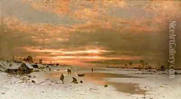 A Winter Landscape Oil Painting - Ludwig Munthe