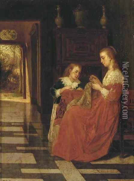 The sewing lesson Oil Painting - Franz Moormans