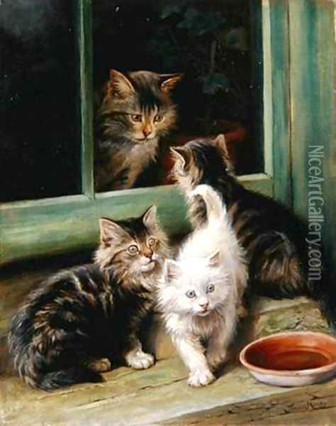 Kittens Oil Painting - Fannie Moody