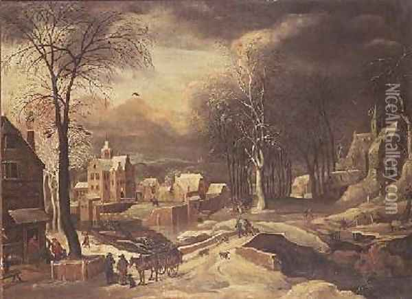 Winter Landscape Oil Painting - Hendrick de Meyer