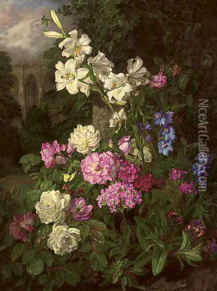 Garden in the close Oil Painting - Martha Darley Mutrie