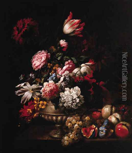 Tulips, Roses, Poppies and other Flowers in a Vase with Fruit on a Ledge Oil Painting - Jean-Baptiste Monnoyer
