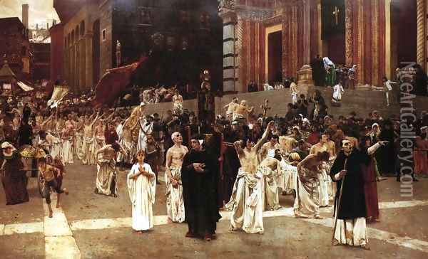 The Flagellants Oil Painting - Carl von Marr