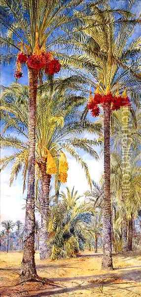 Date Trees, Ramleh, Egypt Oil Painting - Henry Roderick Newman