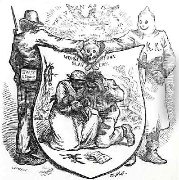 The White League and the Ku Klux Klan Worse than Slavery cartoon from Harpers Weekly 1874 Oil Painting - Thomas Nast