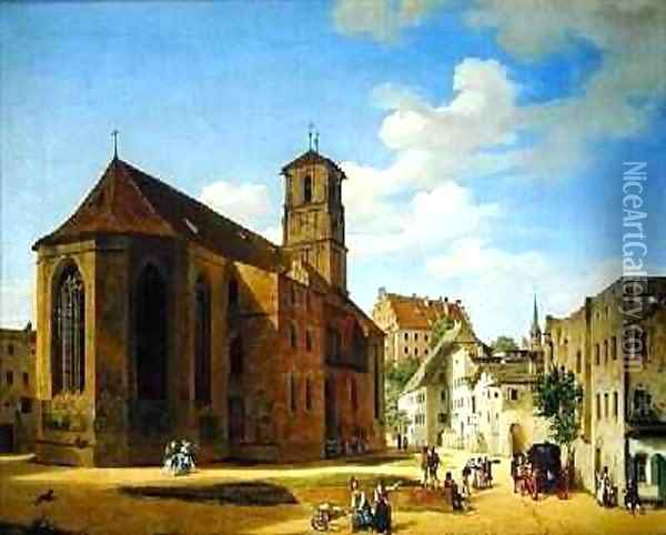 The Church Square in Wasserburg am Inn 1838 Oil Painting - Michael Neher