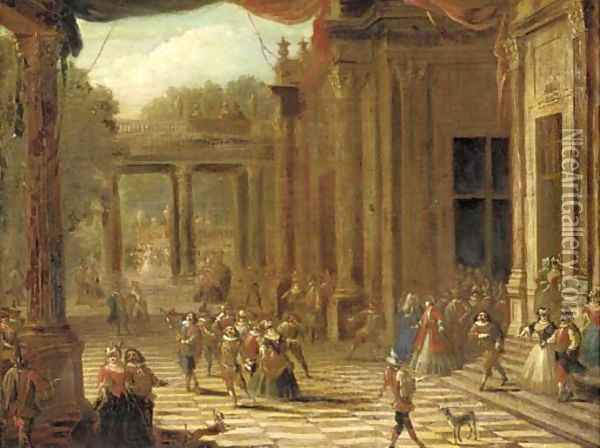 A capriccio of a classical palace exterior with elegant company at a masked ball Oil Painting - Joseph Francis Nollekens