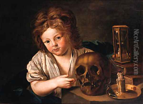 A Vanitas a boy seated at a table with a skull Oil Painting - Antoine Le Nain