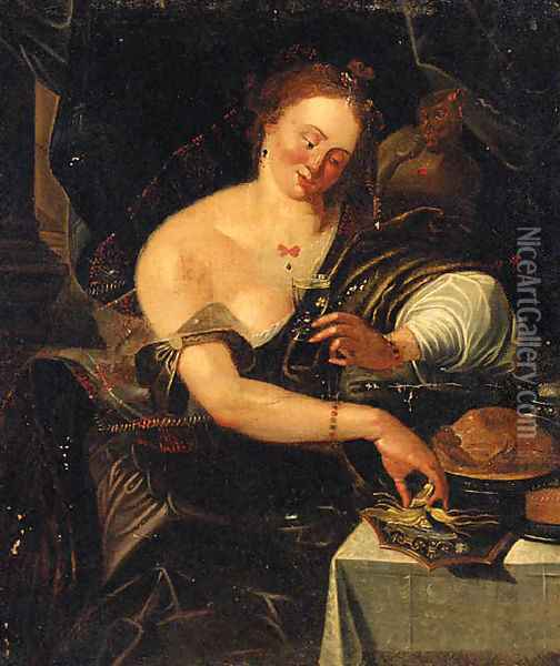 An allegory of the sense of taste Oil Painting - Abraham Janssens van Nuyssen