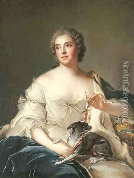 Portrait of a lady, said to be la Duchesse de Chevreuse Oil Painting - Jean-Marc Nattier