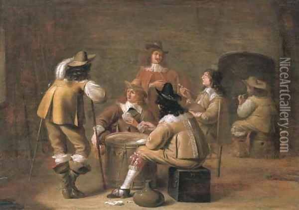 Militiamen smoking and playing cards in an interior Oil Painting - Jan Olis