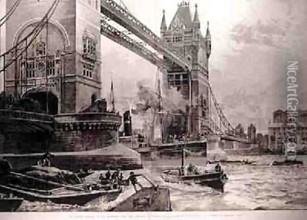 The Tower Bridge, to be Erected Over the Thames: Foundation Stone Laid by the Prince of Wales on Monday Last, from The Illustrated London News, 26th June 1886 Oil Painting - Overend, William Heysham