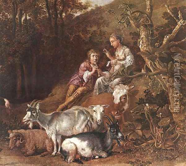 Landscape with Shepherdess Shepherd Playing Flute (detail) 1642-44 Oil Painting - Paulus Potter